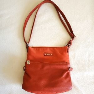 Soft Orange Leather Roots Purse with lots of Space
